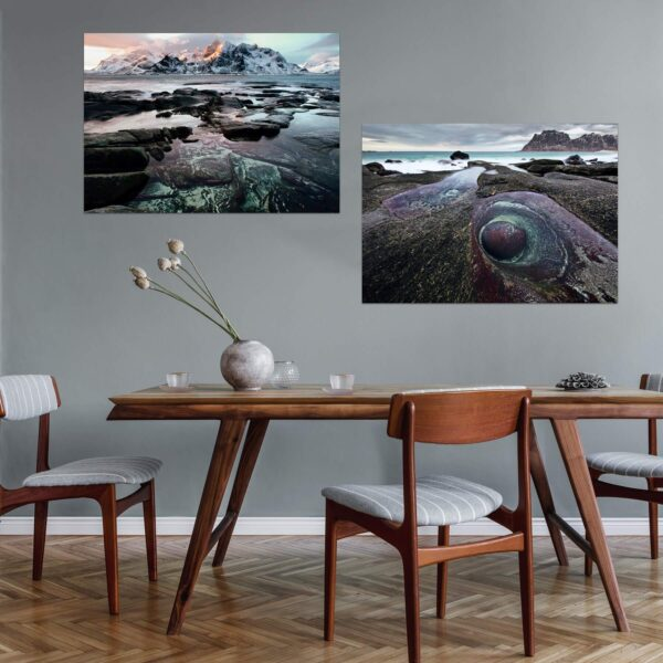 "Paper prints from the series ""Lofoten Voyage"" by Alexander Perov mounted on aluminium shown in the interior. The series includes ""Lofoten Voyage #3"" and ""Lofoten Voyage #5"" artworks."