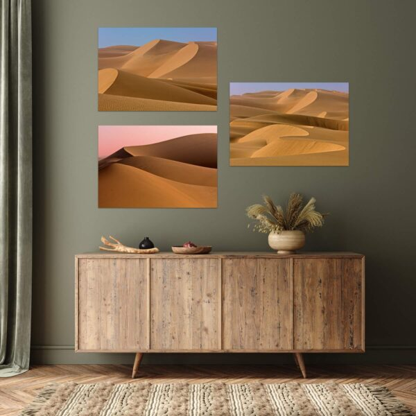 """Paper print """"Desert Erotics"""" by Alexander Perov mounted on aluminium shown in the interior. The series includes the following artworks: """"Lumpiness"""", """"Pride"""" and """"Fold Ups""""."""