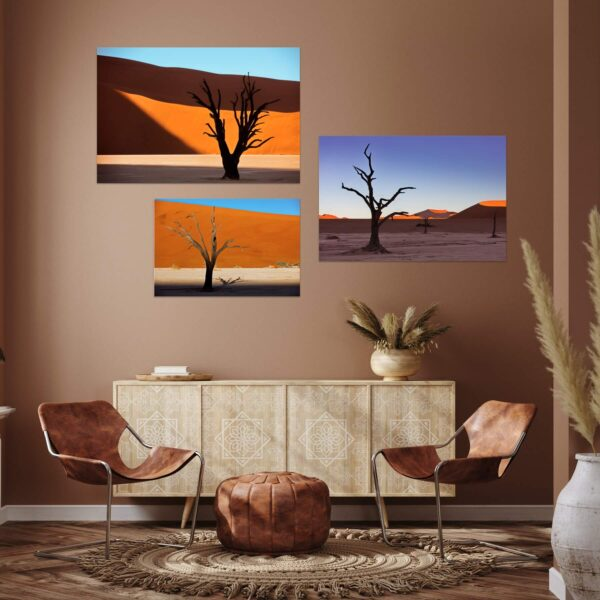 """Paper prints from the series """"Snagness"""" by Alexander Perov mounted on aluminium shown in the interior. The series includes """"Snagness #1"""", """"Snagness #2"""" and """"Snagness #4"""" artworks."""
