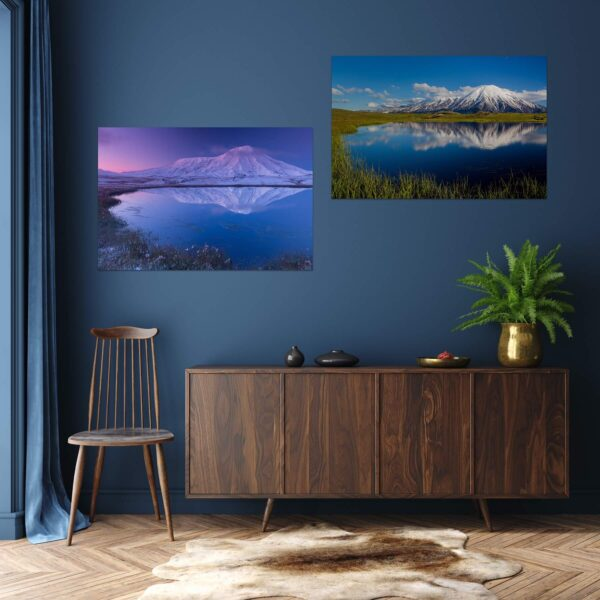 """Paper prints """"Volcano Tolbachik"""" by Denis Budkov mounted on aluminium shown in the interior. The series includes the following artworks: """"Volcano Tolbachik #1"""" and """"Volcano Tolbachik #2""""."""