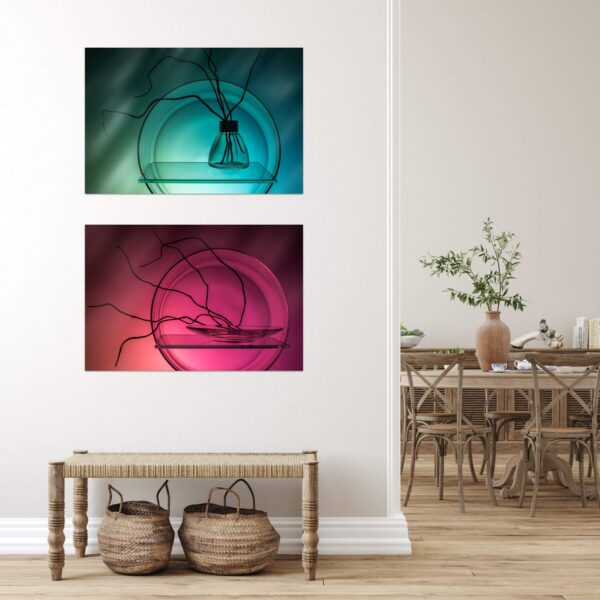 """Paper print """"Compositions"""" by Evgeny Popov mounted on aluminium shown in the interior. The series includes the following artworks: """"Almost Abstract Composition"""" and """"Minimalistic Composition""""."""