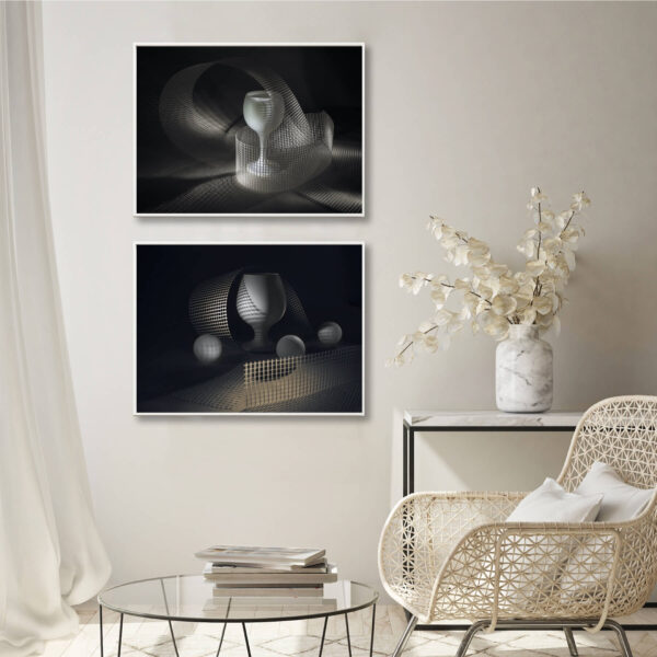 """Paper print """"Net and Light"""" by Evgeny Popov framed into white aluminium shown in the interior. The series includes the following artworks: """"Net and Light #1"""" and """"Net and Light #2""""."""