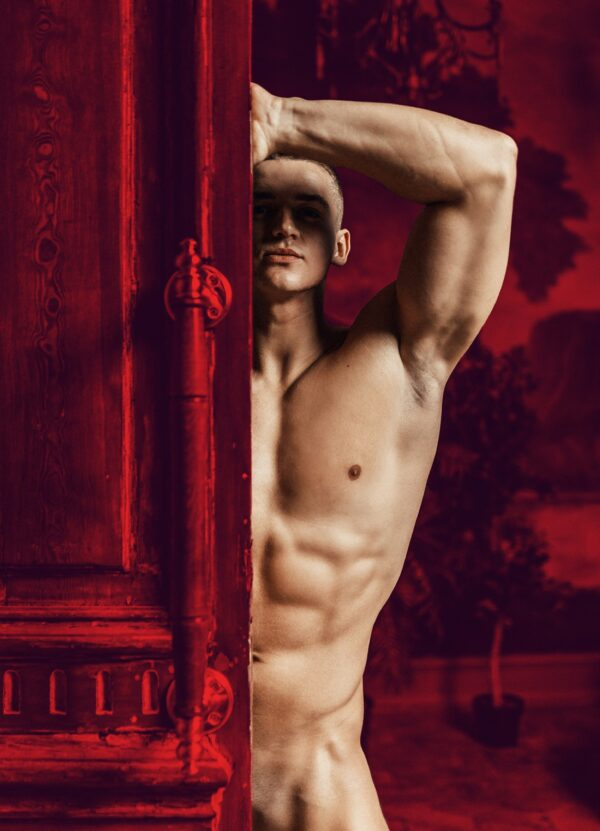 """""""Purple Morning #1"""" Artwork is a coloured photograph of a nude man in a red interior."""