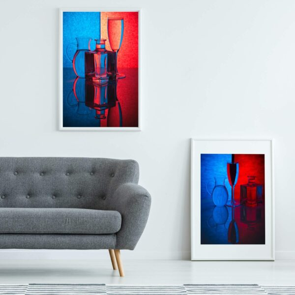 """Paper prints """"Play of Light"""" by Valentin Ivantsov framed into white aluminium shown in the interior. The series includes the following artworks: """"Play of Light #1"""" and """"Play of Light #2""""."""