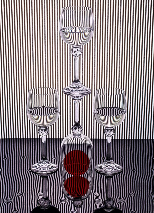 """""""Striped Life #1"""" Artwork is an abstract photograph of four glasses in a form of a pyramid and a red ball in one of them. Art print available in different mediums and sizes."""