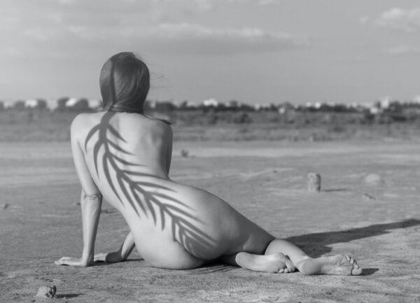 """""""Unknown #1"""" Artwork is a black and white photograph of a nude woman sitting on the sand with her back turned to the camera. A shadow of a plant is seen on her back."""