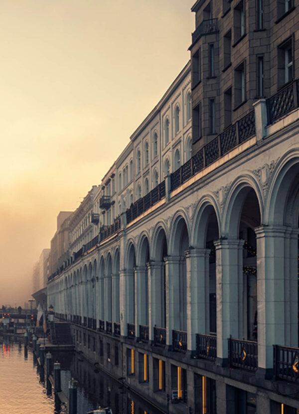 """Hamburg Panorama I"" Artwork is a coloured panoramic photo of Hamburg from the water."