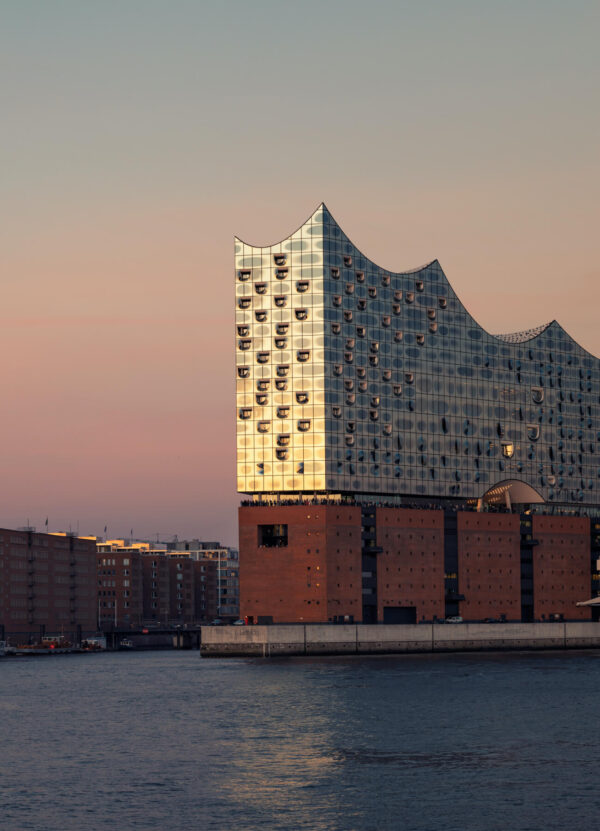 """""""Hamburg Panorama II"""" Artwork is a coloured photo taken from the water on the buildings in Hamburg."""
