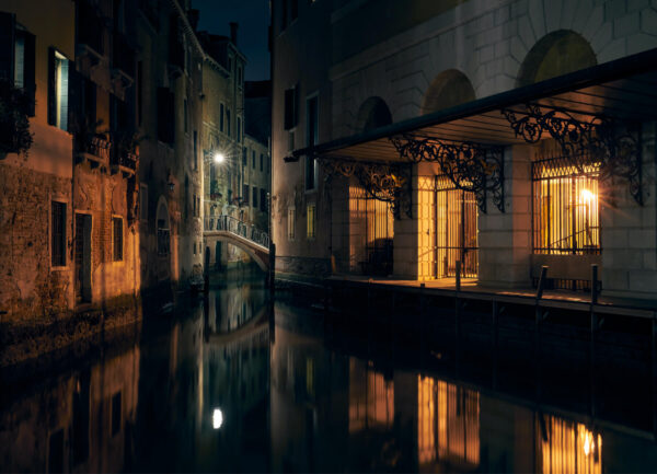 """""""Venice at Night"""" Artwork is a coloured photograph of a canal in Venice at night."""