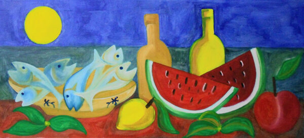 """""""Aurora of the South"""" Artwork is a colour painting depicting a typical southern Italian still life with wine, fruits and fish."""