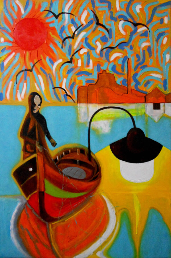 """""""Fishing Fisherman"""" Artwork is a colour painting depicting a fisherman on the boat during the sunset."""
