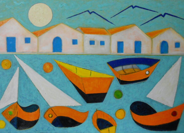 """""""Houses with Boats"""" Artwork is a colour painting depicting a landscape with a houses on the background and the boats at the foreground."""