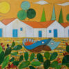 """""""Landscape with Boat, Houses and prickly Pear"""" Artwork is a colour painting depicting a landscape with a houses on the background and the boats at the foreground."""