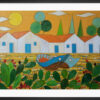 """Framed reproduction of the painting """"Landscape with Boat, Houses and prickly Pear"""" by Sebastiano Cannarella. A colourful art paper print framed in black aluminium."""