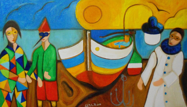 """""""Masked Fishermen"""" Artwork is a colour painting depicting a fishermen wearing masks, the boat and the calm water on the background."""