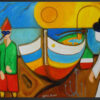 """Framed reproduction of the painting """"Masked Fishermen"""" by Sebastiano Cannarella. A colourful art paper print framed in black aluminium."""