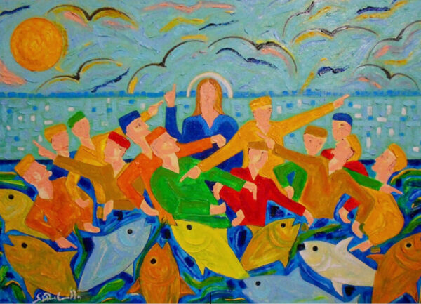 """""""Miraculous Fishing"""" Artwork is a colour painting depicting a dancing crowd on the background and the fish on the foreground."""
