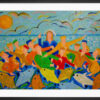 """Framed reproduction of the painting """"Miraculous Fishing"""" by Sebastiano Cannarella. A colourful art paper print framed in black aluminium."""