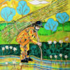 """""""Zoso"""" Artwork is a colour painting depicting a farm worker on the sunny day."""