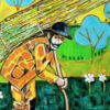"""""""Zoso"""" Artwork zoomed to the farmer."""