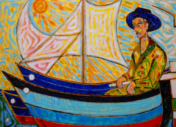 """""""Fisherman"""" Artwork is a colour painting depicting a fisherman in his boat."""