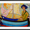 """Framed reproduction of the painting """" Fisherman"""" by Sebastiano Cannarella. A colourful art paper print framed in black aluminium."""