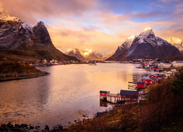"""""""Northern Nature"""" Photograph is a colour artwork capturing the lake in the Northern Fjords and the village by it."""